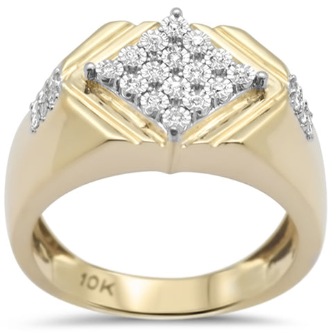 .20ct F SI 10K Yellow Gold Diamond Men's Band Ring Size 10