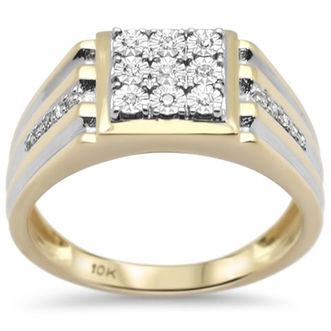 .14ct F SI 10K Yellow Gold Diamond Men's Band Ring Size 10
