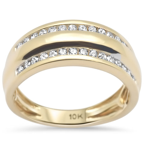 .48ct F SI 10K Yellow Gold Diamond Men's Band Ring Size 10