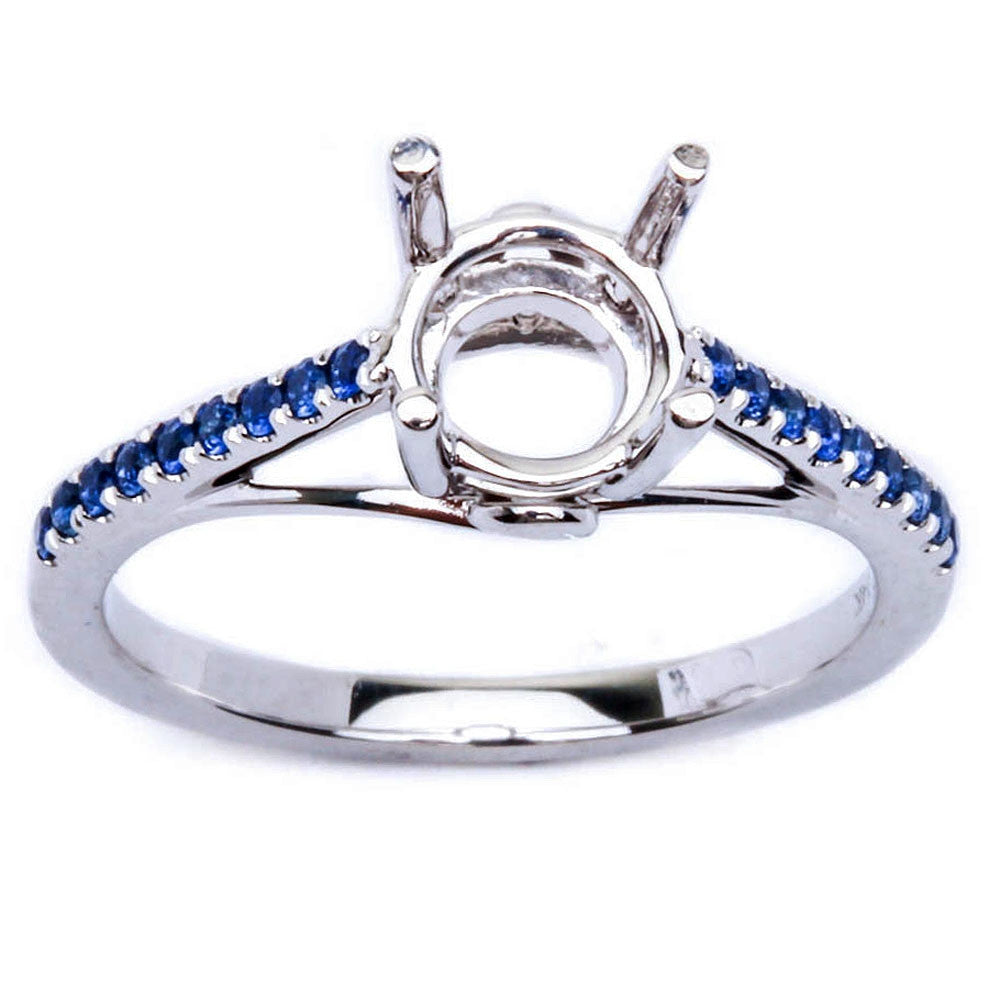14kt White Gold .19ct Blue Sapphire Semi Mount Engagement Wedding Ring