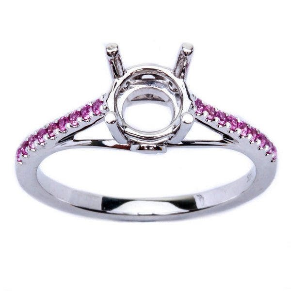 14kt White Gold .15ct Pink Sapphire Semi Mount Engagement Wedding Ring