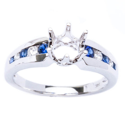 .34ct Genuine 6 Prong Blue Sapphire & Diamond Semi Mount Engagement Wedding Ring