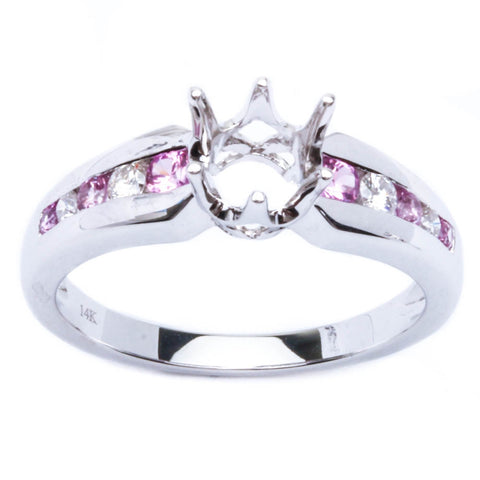 .37ct Genuine 6 Prong Pink Sapphire & Diamond Semi Mount Engagement Wedding Ring