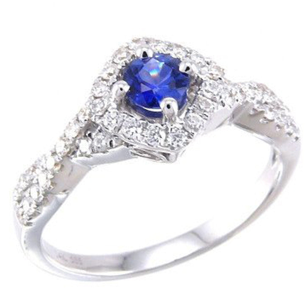 14k Pave Set .55ct Blue Sapphire & Diamond FINE Engagement Gemstone Band Ring