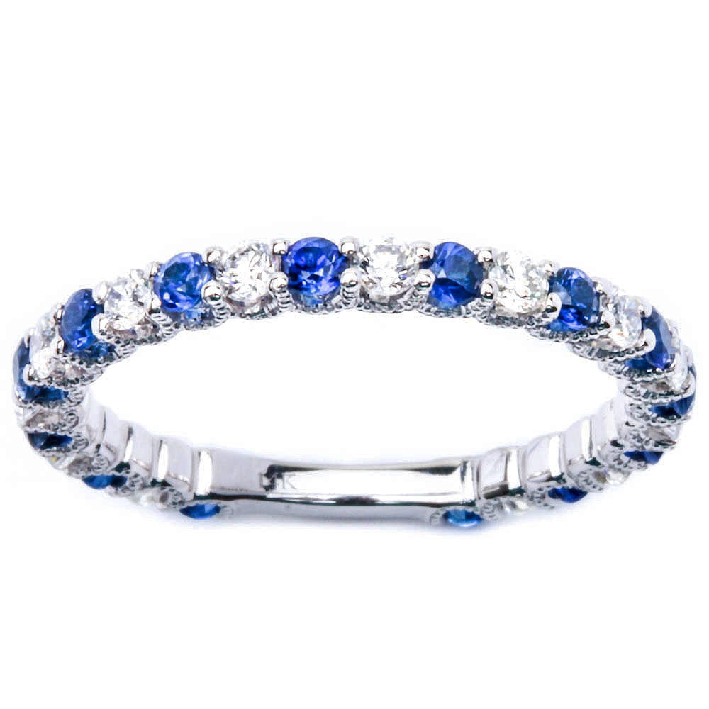 1.06ct 14kt Gold Blue Sapphire & Diamond Prong Set Eternity Wedding Band