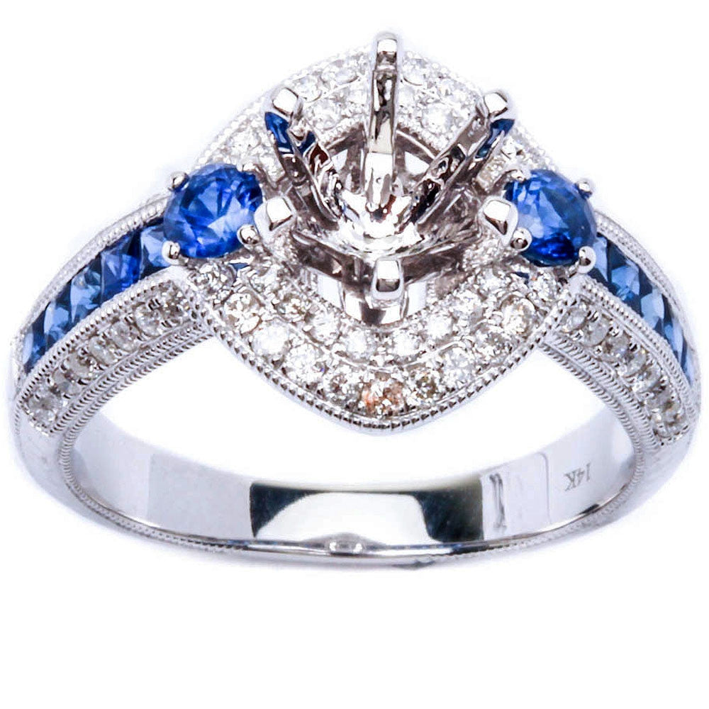 .97 Pave Set Genuine Blue Sapphire & Diamond Engagement Semi Mount Wedding Ring