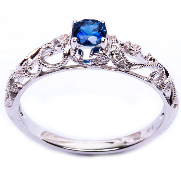 14k Antique Filigree .32CT Blue Sapphire & Diamond PROMISE Fashion Gemstone Ring