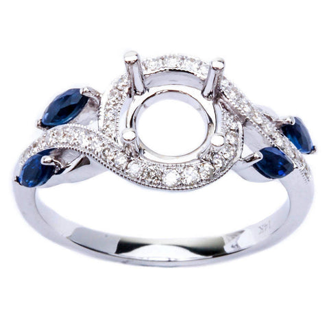 .67ct Twisted Band Blue Sapphire & Diamond Engagement Semi Mount Wedding Ring