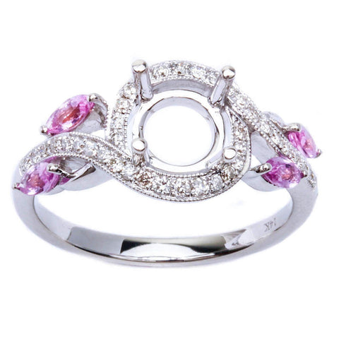 .63ct Twisted Band Pink Sapphire & Diamond Engagement Semi Mount Wedding Ring