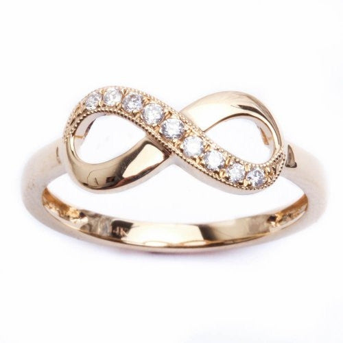 14k Gold Infinity Diamond Milgrain Ring