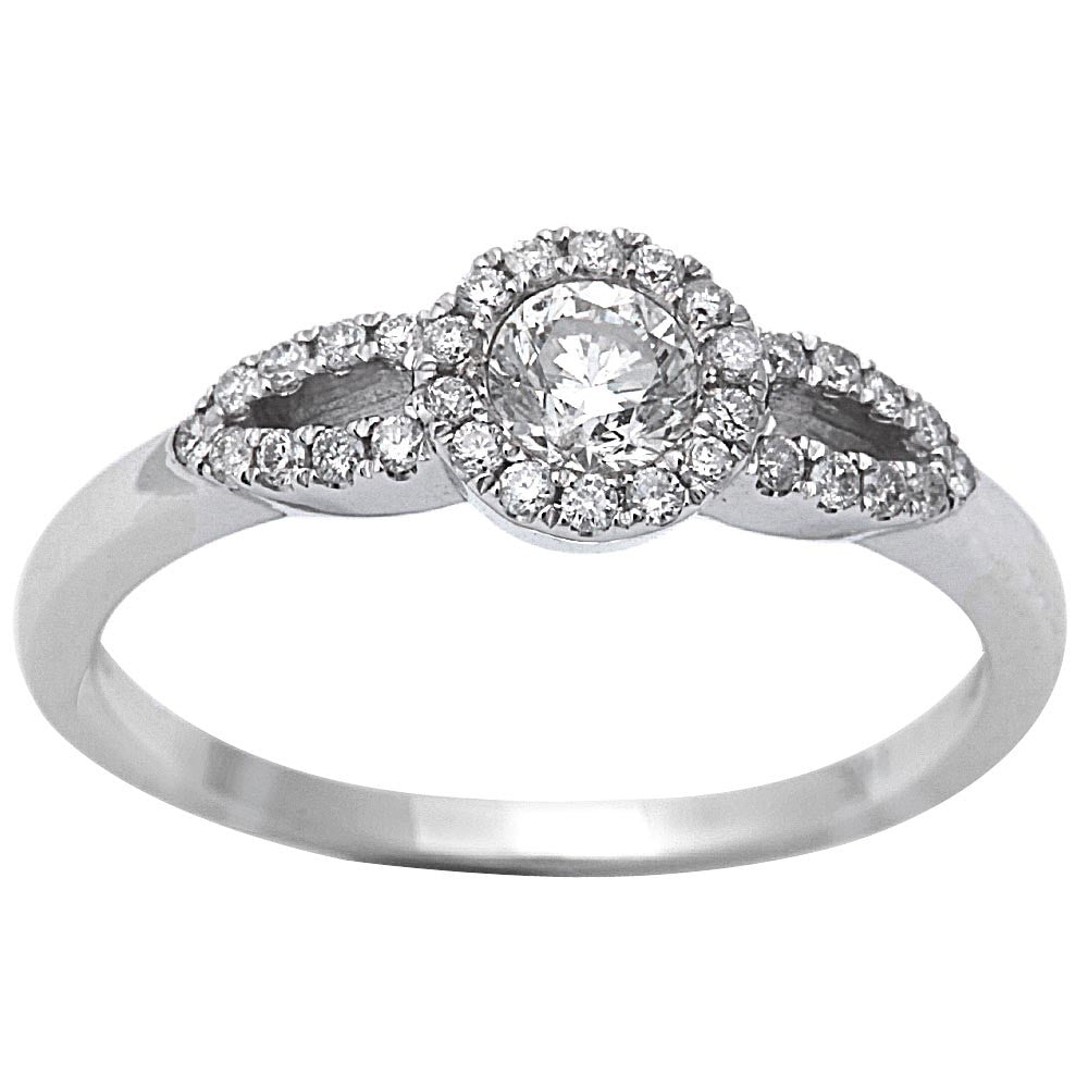 .42ct Round Diamond Promise 14kt White Gold HALO Style Engagement Ring