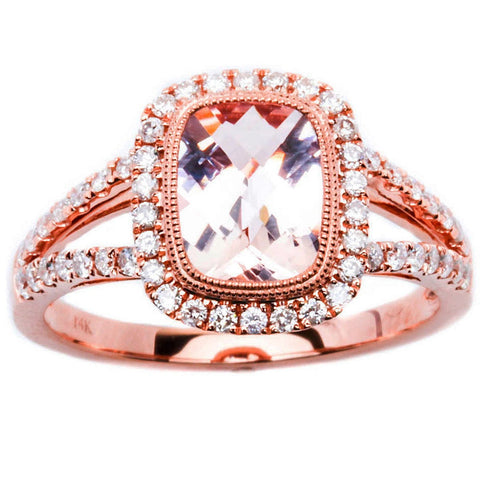 1.74ct Morganite & Round Diamond 14kt Rose Gold HALO Style Engagement Ring
