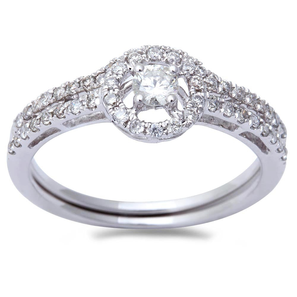 .48ct E SI1 Round Diamond Two Piece Engagement & Wedding Band Bridal Set