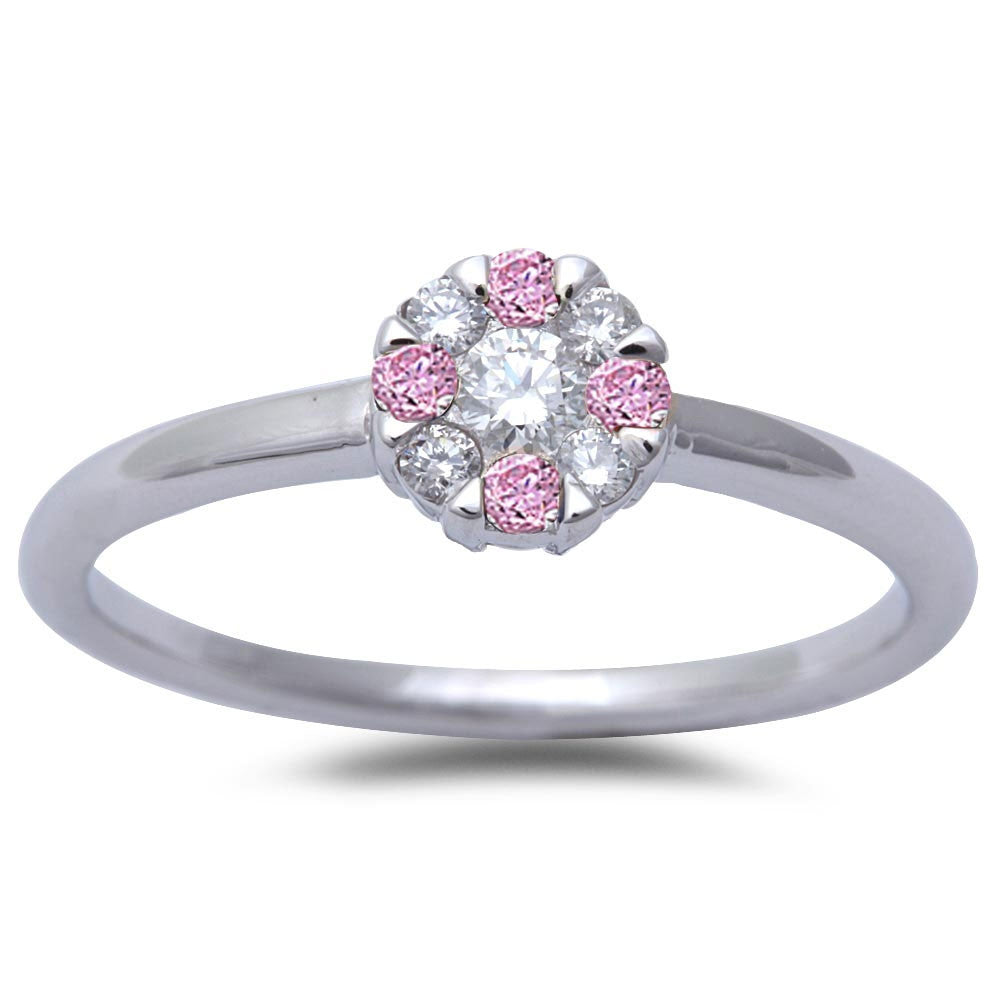 White Gold Pink Sapphire & Diamond Solitaire Engagement Promise Ring Size 6.5