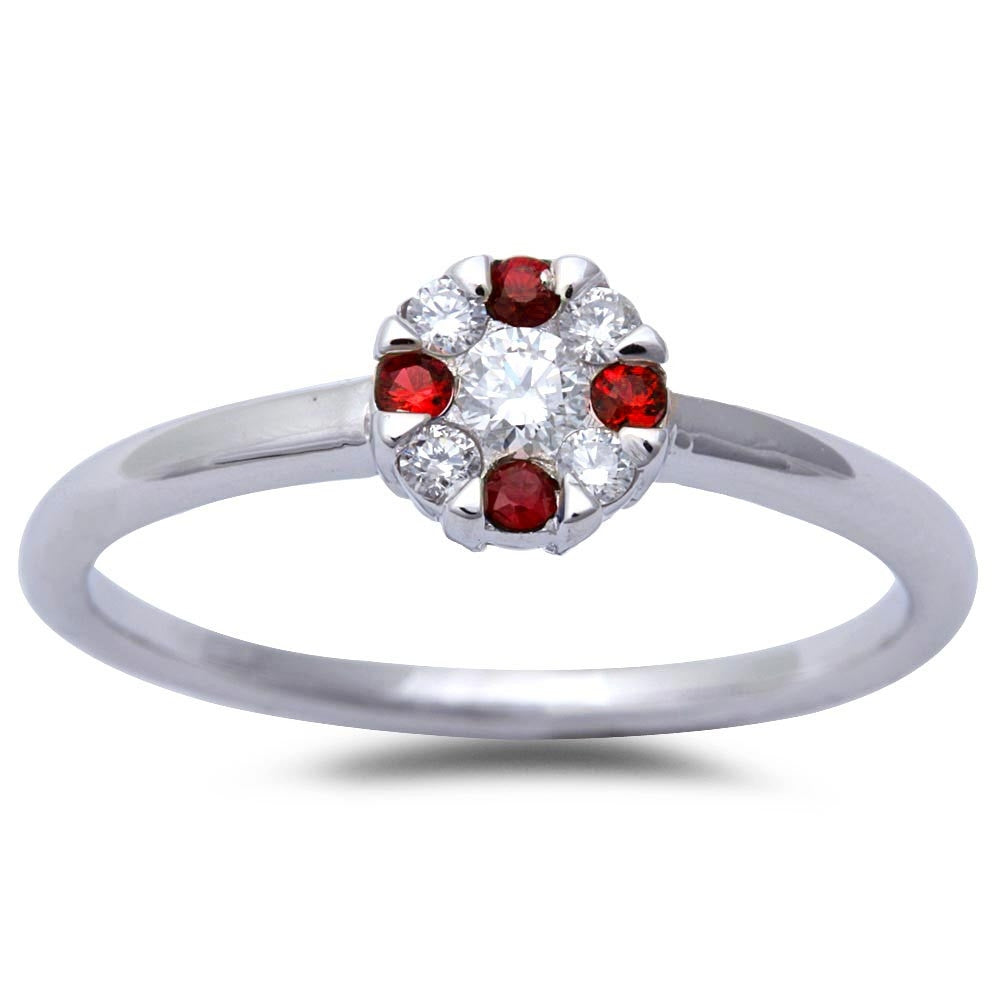 White Gold Ruby & Diamond Solitaire Engagement Promise Ring Size 6.5
