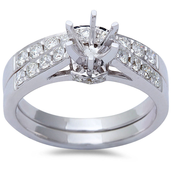 .70ct 14kt White Gold Round Diamond Cathedral Style Wedding Engagement Ring Set