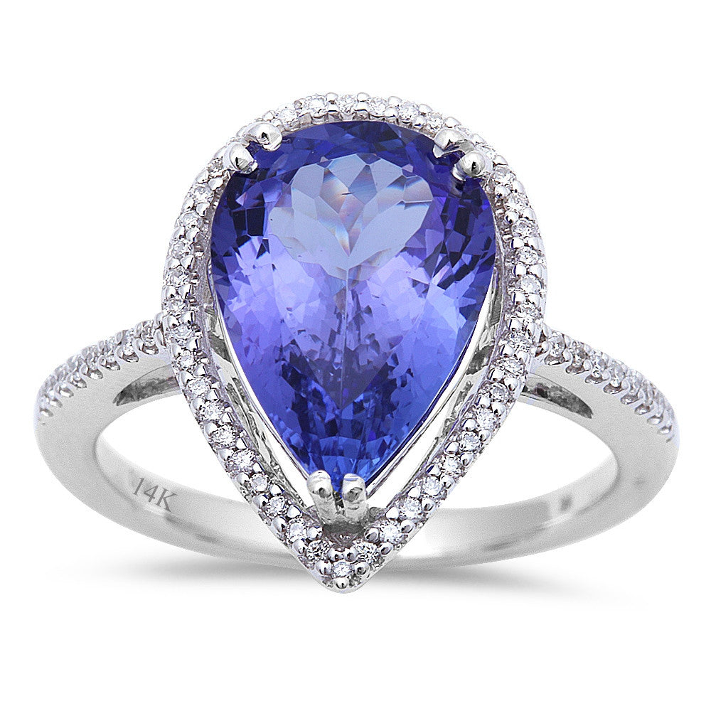 3.70ct Pear Cut Genuine Tanzanite & F VS Diamond Engagement Ring Size 6.5