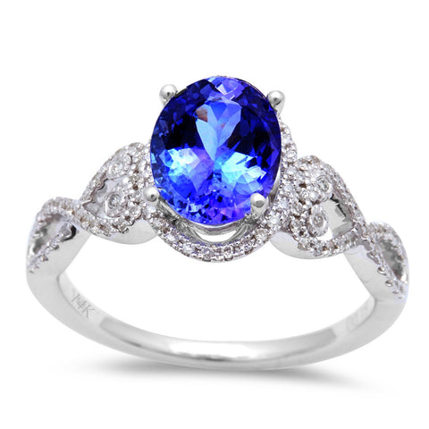 1.69ct Genuine Tanzanite & Round Diamond twisted prong Engagement Ring Size 6.5