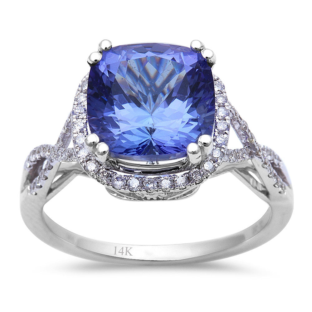 4.28ct Genuine Tanzanite & Diamond Twisted Prong Engagement Ring Sz. 6.5