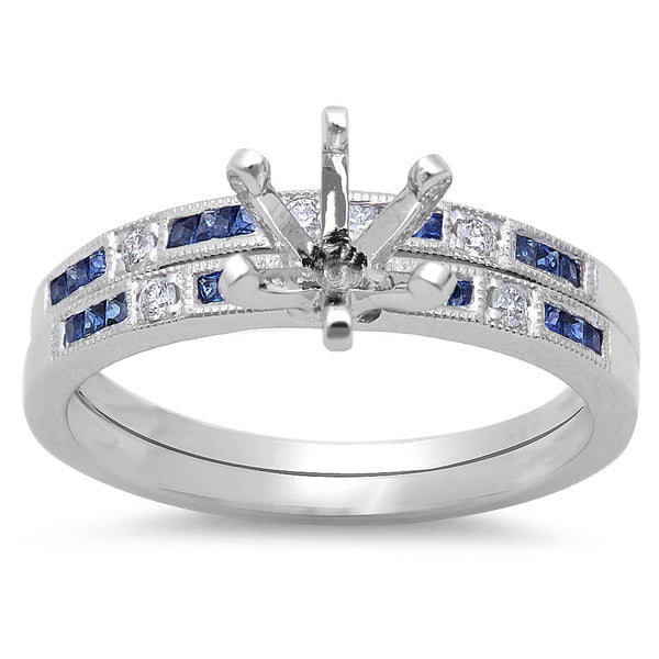.34ct Blue Sapphire & Diamond Engagement Wedding Bridal Semimount set 14KT Gold