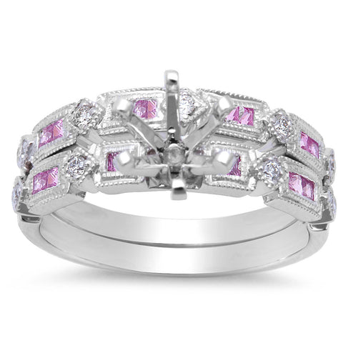 .53ct Pink Sapphire & Diamond Engagement Wedding Bridal Semimount Set 14kt Gold
