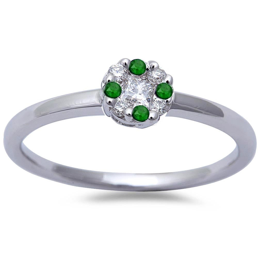 White Gold Genuine Emerald & Diamond Solitaire Engagement Promise Ring Size 6.5