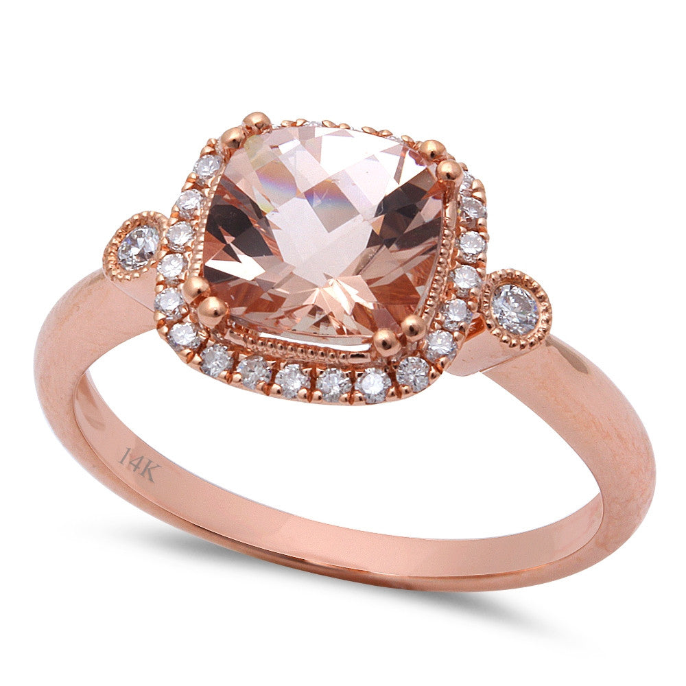 1.58ct F VS Morganite & Round Diamond 14kt Rose Gold Engagement Ring Size 6.5