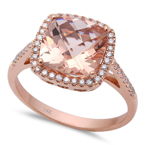 2.80ct F VS Morganite & Round Diamond 14kt Rose Gold Engagement Ring Size 6.5
