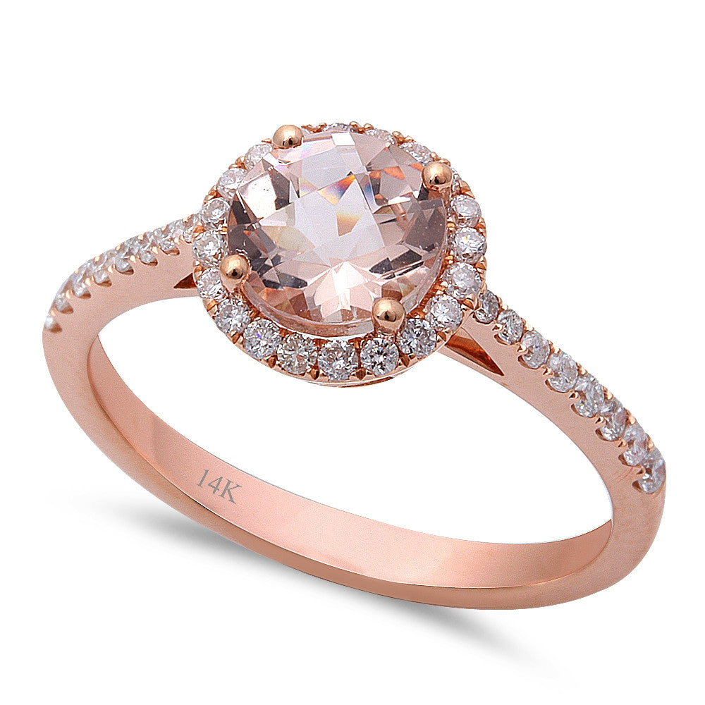 1.33ct F VS Morganite & Round Diamond 14kt Rose Gold Engagement Ring Size 6.5