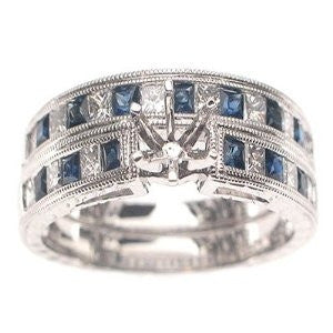 14k White Gold Blue Sapphires and Diamond Bridal Set Semi-Mount Engagement Ring - Size 6.5