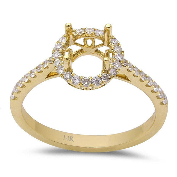 .28ct F VS 14kt Yellow gold Halo Round Diamond Semi Mount Engagement Ring Sz 6.5