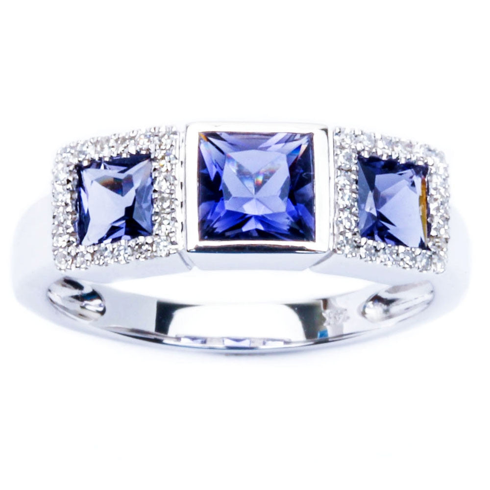 14kt Gold Genuine Diamond & Iolite Three stone Anniversary Fine Gemstone Ring