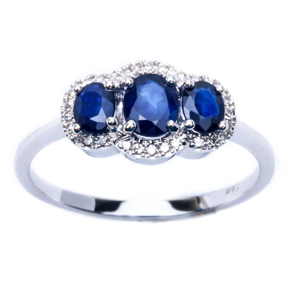 E VS 14kt White Gold .92ct Genuine Sapphire & Diamond Three stone ring Sz 6.5