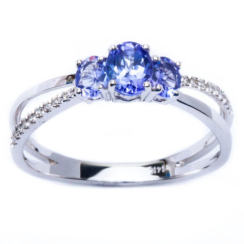 E VS 14kt White Gold .81ct Genuine Tanzanite & Diamond Three stone ring Sz 6.5