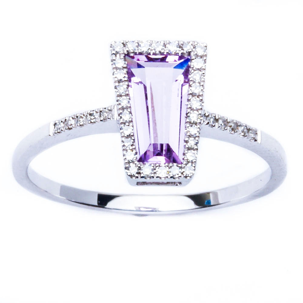 E VS Beautiful Designer Genuine Amethyst & Diamond Art Deco Ring Sz 6.5