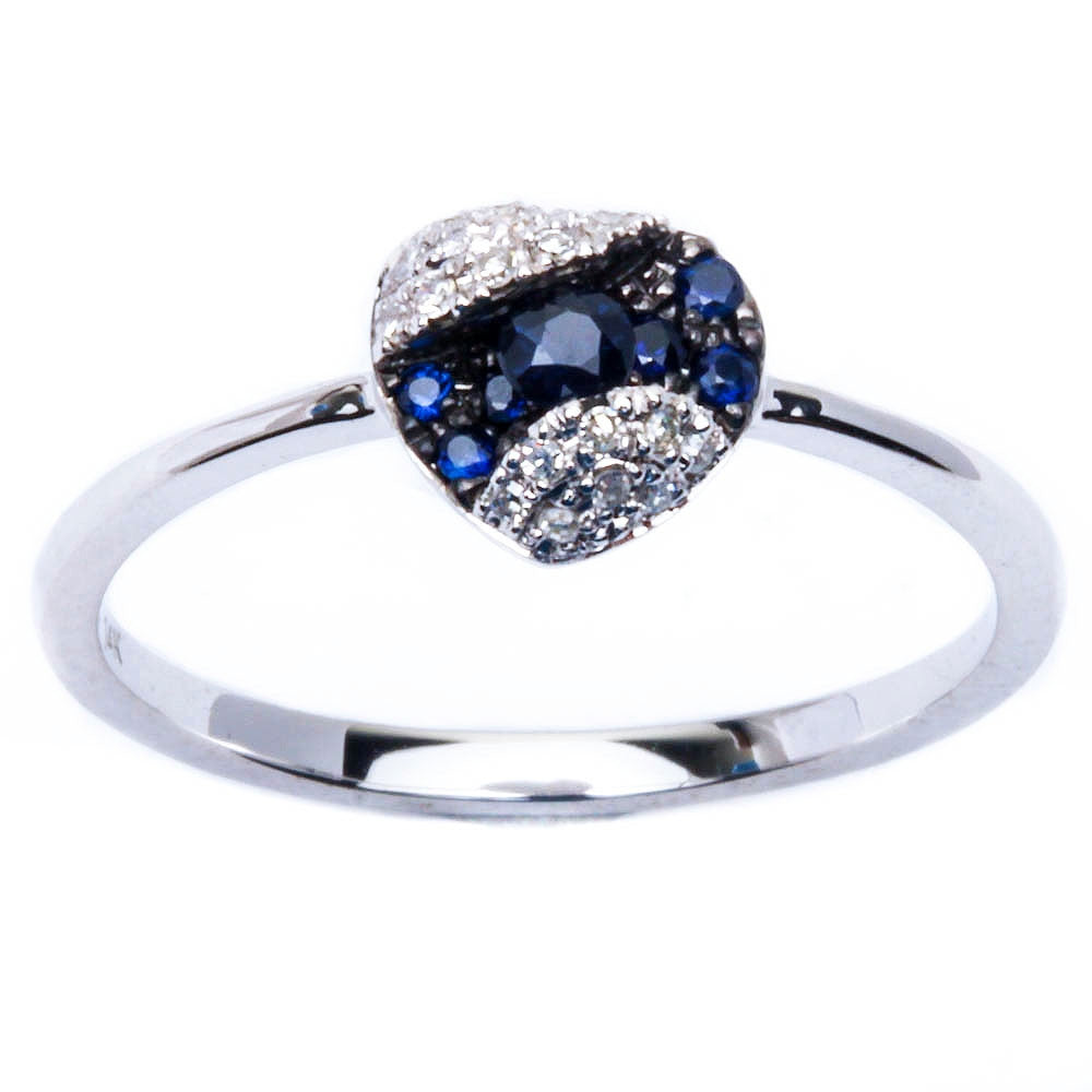 E VS Quality 14kt Gold Genuine Diamond, Blue Sapphire Fine Gemstone Ring Sz. 6.5