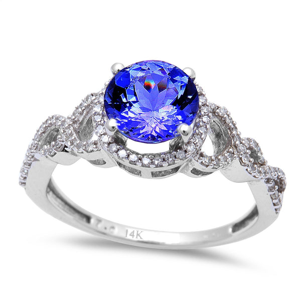 1.53ct Genuine Tanzanite & Diamond Twisted Prong Solitaire Engagement Ring