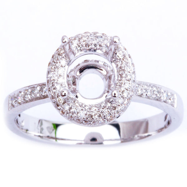 Halo Style .29ct 14kt White Gold E-SI Round Diamond Semi Mount Engagement Ring
