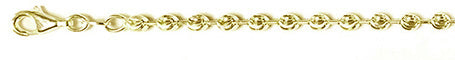 "300-3MM Yellow Gold Plated Moon Cut Chain Made in Italy Available in 7""-30"" inches"
