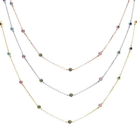 "Available in 3 Colors""Diamond by the Yard"" Multicolor Gemstone .925 Sterling Silver Necklace"