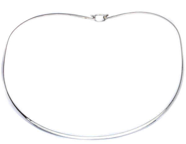 Plain 2MM Flat Choker .925 Sterling Silver Necklace Made in Italy