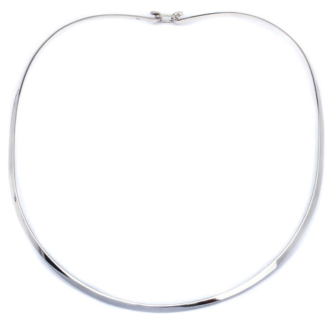 Plain 3MM Flat Choker .925 Sterling Silver Necklace Made in Italy