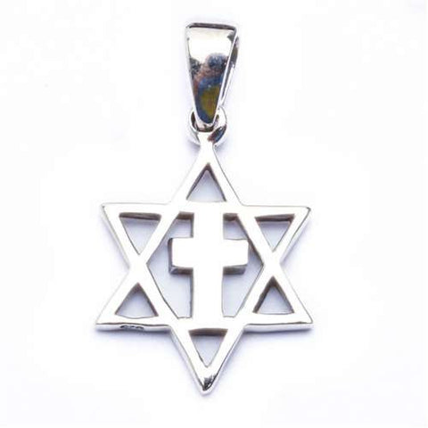 Star of David with Cross .925 Sterling Silver Pendant