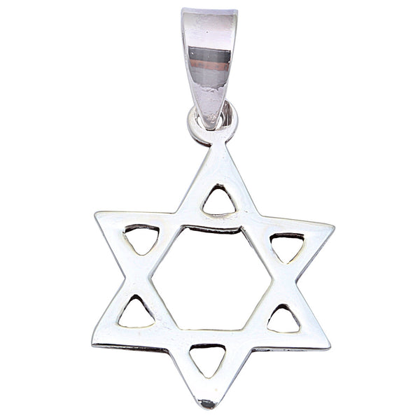 STAR OF DAVID CHARM .925 Sterling Silver Pendant 1.25""