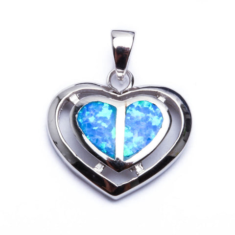 New Blue Opal Heart .925 Sterling Silver Pendant Necklace
