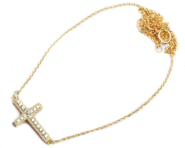 "Yellow Gold Plated CZ Cross .925 Sterling Silver Pendant Necklace Attached 16""+1.5""Ext Chain"