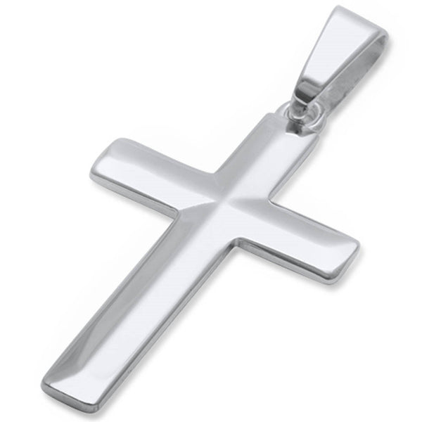 "Diamond Cut 4 1/2mm Thick Solid Cross .925 Sterling Silver Pendant 1.5"" long"