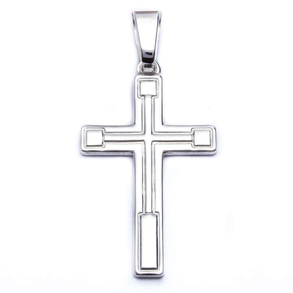 "Hand Carved Solid Cross .925 Sterling Silver Pendant 1.5"" long"