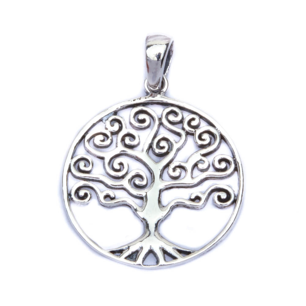 "Solid Family Tree .925 Sterling Silver Pendant 1"" long"