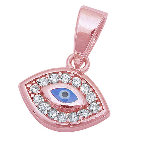 "Rose Gold Plated Cz Blue Evil Eye .925 Sterling Silver Pendant .5"" long"